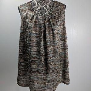 Dress Barn top size 3X brown blue striped stretch